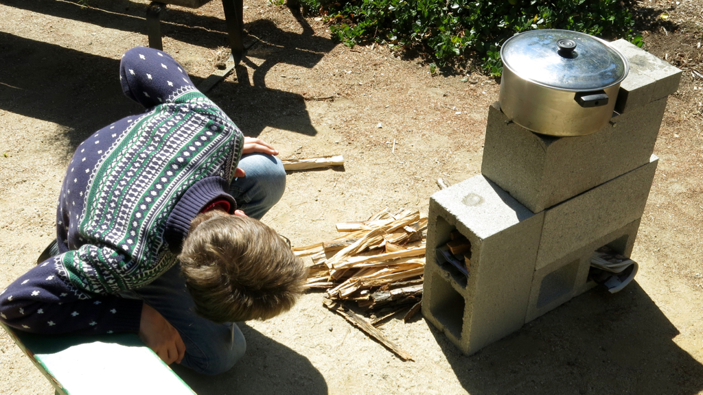 Rocket stove in use